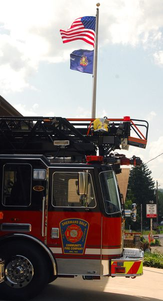 Engine 12-2 with American Flag